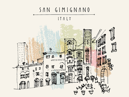 San Gimignano, Toskania, Włochy. Tall średniowieczne wieże. Zabytkowego Starego Miasta. Włoski architektury renesansu. Szkic Travel. Archiwalne ręcznie rysowane pocztówki, plakat turystyczny lub książki ilustracji w wektorze