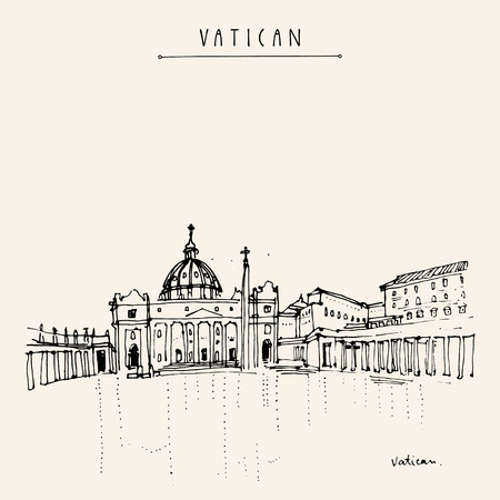basilica: Saint Peter cathedral and Apostolic Palace in Vatican city, Europe. Hand drawing. Travel sketch. Vintage touristic postcard, poster, calendar or book illustration in vector Illustration