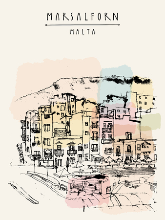 touristic: Marsalforn, Gozo island, Malta. Hand drawn touristic vintage postcard or poster template, book illustration in vector Illustration