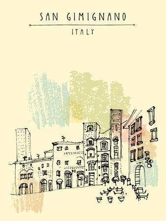 San Gimignano, Toskana, Italien. Hohe mittelalterlichen Türme. Historische Altstadt. Italienische Renaissance-Architektur. Reise Skizze. Weinlese von Hand gezeichnet Postkarte, touristische Plakat oder Buchillustration in Vektor