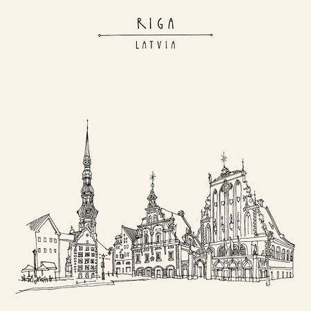 Riga, Latvia. Hand drawn postcard in vector