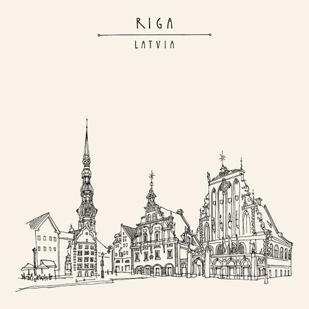 Riga, Lettland. Hand gezeichnete Postkarte in Vektor Standard-Bild - 64104051