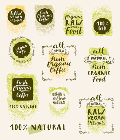 Bio Organic Fresh Natural Coffee, Food, Raw Vegan Delights. Vector handdrawn restaurant, cafe, bakery menu labels, badges, stickers, banners, posters with awesome zen inspired doodle background
