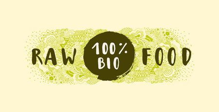 100% Bio Raw Food. Hand drawn label, badge, sticker, banner, poster with awesome zen inspired doodle background. For vegetarian restaurant, cafe, bakery menu. Lettering, calligraphy. Vector Illustration
