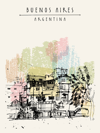 ghetto: Villa 31, poor dangerous ghetto favela district in Buenos Aires, Argentina, South America. Hand-drawn vintage book illustration, postcard or poster in vector