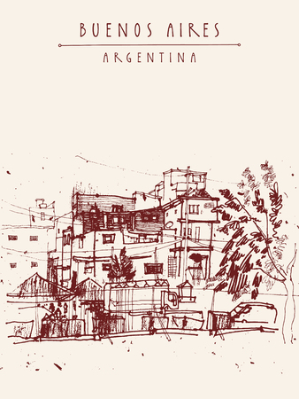 aires: Villa 31, poor dangerous criminal ghetto favela district in Buenos Aires, Argentina, South America. Hand-drawn vintage book illustration, postcard or poster in vector