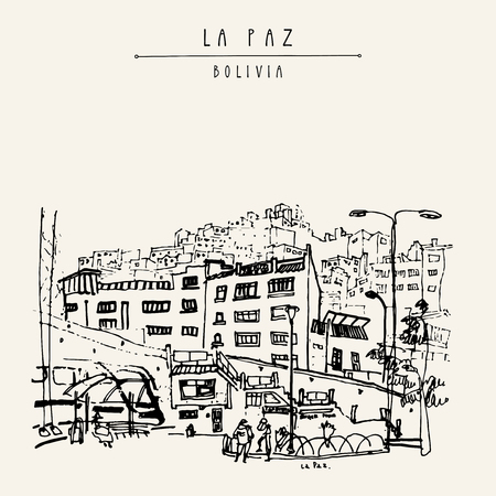 View of La Paz, Bolivia. Bus station, houses, Andes mountains. Vintage artistic hand drawn postcard, poster template, book illustration in vector