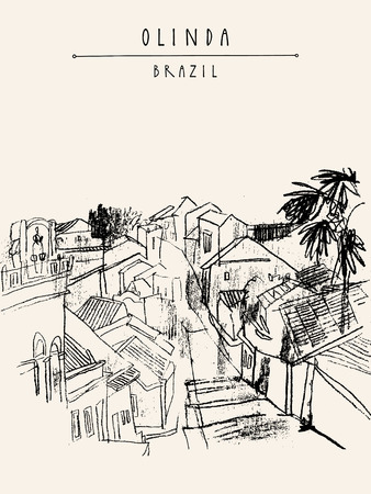 colonial: Above view of Olinda, Pernambuco, Brazil, South America. Old Portuguese colonial architecture. Hand-drawn vintage atrwork. Touristic postcard, poster, book illustration in vector
