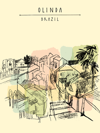cobbled: Above view of Olinda, Pernambuco, Brazil, South America. Old Portuguese colonial architecture. Hand-drawn vintage atrwork. Touristic postcard, poster, book illustration in vector