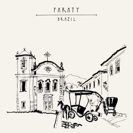 Paraty, Rio de Janeiro, Brazil. Old town view with a church and horse carts. Vintage hand drawn book illustration, postcard or poster in vector