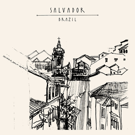 Old town in Salvador, Bahia, Brazil, South America. Houses and Catholic church on the hills of gorgeous town. Vintage hand drawn postcard, book illustration or poster template in vector
