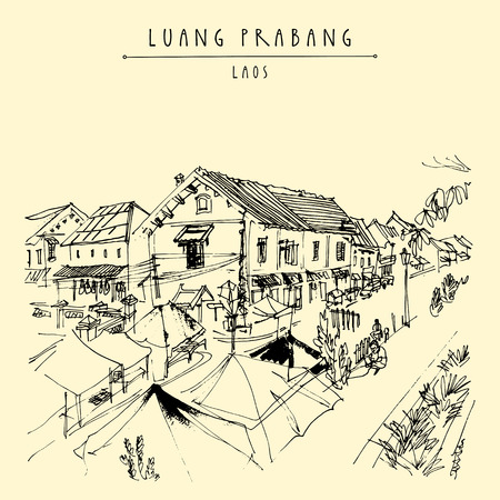 Market place in Luang Prabang, Laos, Southeast Asia. French colonial buildings on the background. Vintage hand drawn touristic postcard in vector