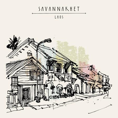 Sleepy Straße in Savannakhet, dem ehemaligen Französisch Kolonialstadt, Laos, Südostasien. Vintage Hand touristische Postkarte in Vektor gezeichnet Vektorgrafik