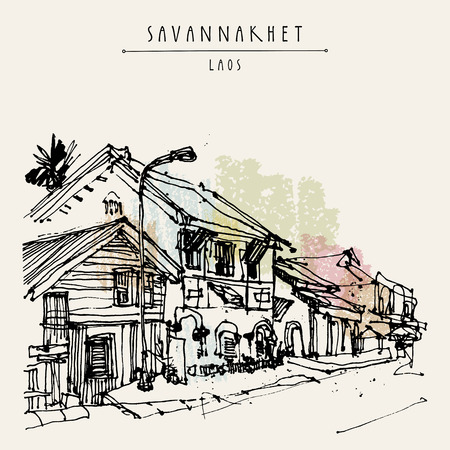 tranquil scene on urban scene: Sleepy street in Savannakhet, former French colonial town, Laos, Southeast Asia. Vintage hand drawn touristic postcard in vector Illustration