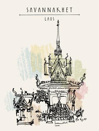 laotian: Buddhist temple in Savannakhet, Laos, Southeast Asia. Vertical vintage hand drawn touristic postcard in vector