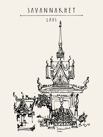 Buddhist temple in Savannakhet, Laos, Southeast Asia. Vertical vintage hand drawn touristic postcard in vector