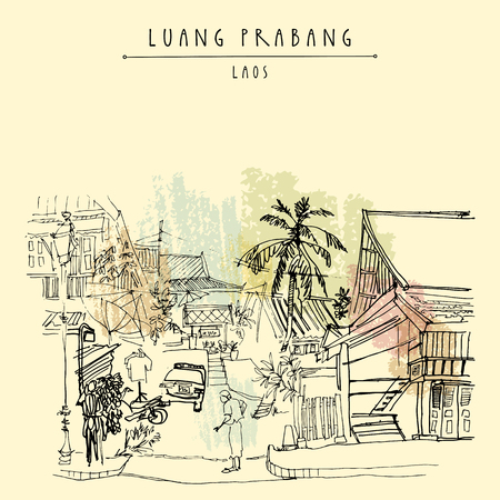 laotian: Old Lao lady in the street in Luang Prabang, Laos, Southeast Asia. Vintage hand drawn touristic postcard in vector