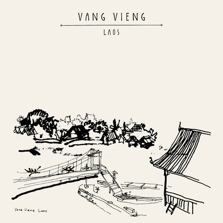 southeast: Bridge, riverside and a guesthouse in Vang Vieng, Laos, Southeast Asia. Vintage hand drawn touristic postcard in vector