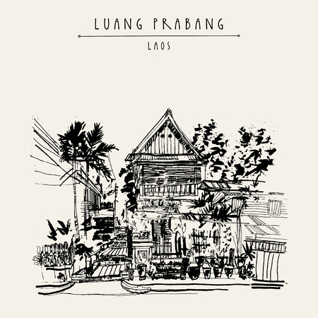 lao: Old traditional wooden house in Lao style. Luang Prabang, Laos, Southeast Asia. Vintage hand drawn touristic postcard in vector