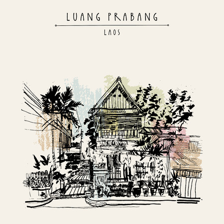 southeast: Old traditional wooden house in Lao style. Luang Prabang, Laos, Southeast Asia. Vintage hand drawn touristic postcard in vector