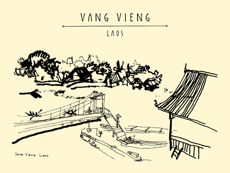 east river: Bridge, riverside and a guesthouse in Vang Vieng, Laos, Southeast Asia. Vintage hand drawn touristic postcard in vector