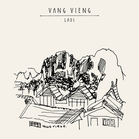 Mountains, riverside and a guesthouse in Vang Vieng, Laos, Southeast Asia. Vintage hand drawn touristic postcard in vector