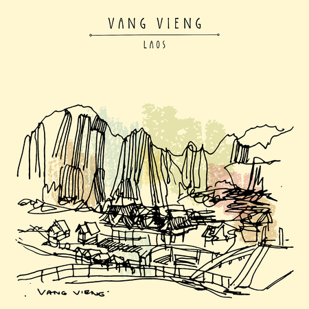 southeast: Mountains, riverside and a guesthouse in Vang Vieng, Laos, Southeast Asia. Vintage hand drawn touristic postcard in vector