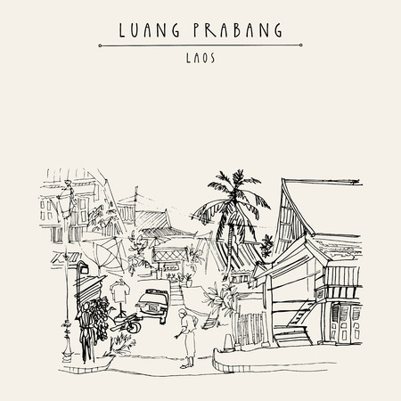 Old Lao lady in the street in Luang Prabang, Laos, Southeast Asia. Vintage hand drawn touristic postcard in vector