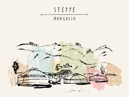 nomadic: Vector Mongolia postcard. Yurts (gers) traditional Mongolian dwellings in Mongolian steppe. Mountains on background. Travel sketch. Brushpen graphic art. Hand drawn vintage book illustration, postcard Illustration
