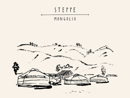 ger: View of Mongolia. Yurts (gers) traditional Mongolian dwellings in Mongolian steppe. Mountains on background. Travel sketch. Brushpen graphic art. Handdrawn vintage book illustration, postcard. Vector Illustration