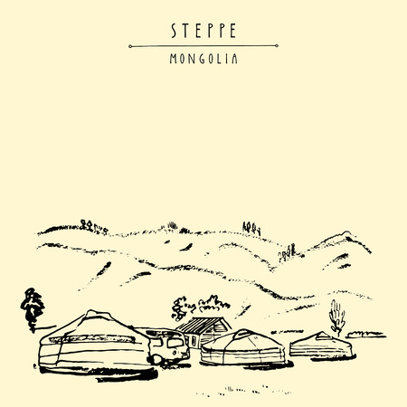 View of Mongolia. Yurts (gers) traditional Mongolian dwellings in Mongolian steppe. Mountains on background. Travel sketch. Brushpen graphic art. Handdrawn vintage book illustration, postcard. Vector Illustration