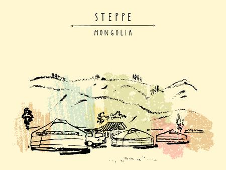 Vector Mongolei Postkarte. Jurten (gers) traditionellen mongolischen Behausungen in der mongolischen Steppe. Berge im Hintergrund. Reise Skizze. Brushpen Grafik. Hand gezeichnet Vintage Buchillustration, Postkarte Standard-Bild - 64116059