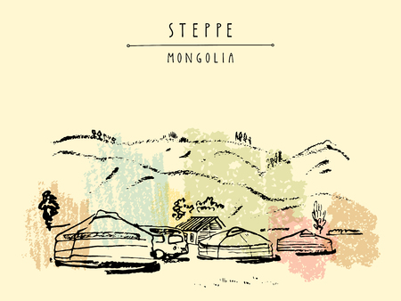 Vector Mongolia postcard. Yurts (gers) traditional Mongolian dwellings in Mongolian steppe. Mountains on background. Travel sketch. Brushpen graphic art. Hand drawn vintage book illustration, postcard Stock Illustratie