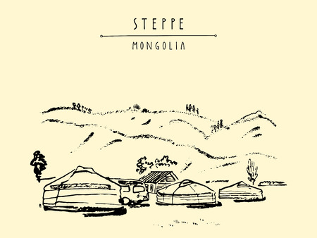 nomad: Vector Mongolia postcard. Yurts (gers) traditional Mongolian dwellings in Mongolian steppe. Mountains on background. Travel sketch. Brushpen graphic art. Hand drawn vintage book illustration, postcard Illustration