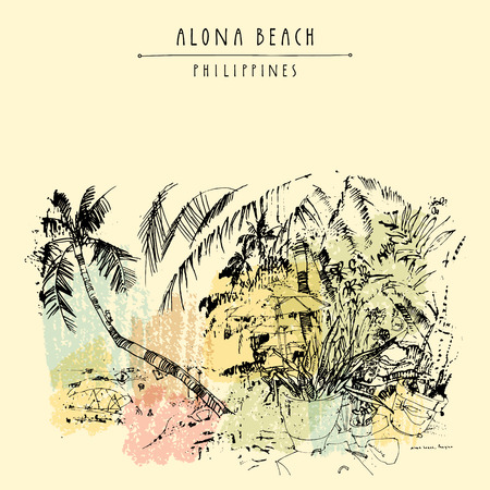 combing: Alona beach, Panglao island, The Philippines, Asia. Hand drawn vintage postcard or poster template in vector