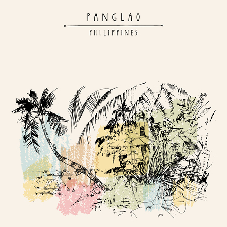 combing: Alona beach, Panglao island, The Philippines, Asia. Book illustration. Hand drawn vintage postcard or poster template in vector Illustration