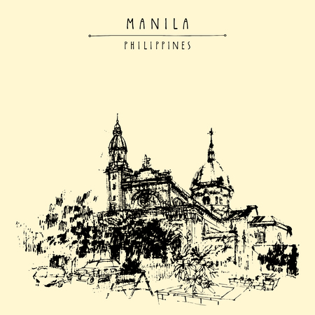 manila: The Manila Cathedral. Intramuros, Manila, The Philippines, Asia. Hand drawn vintage postcard or poster template in vector