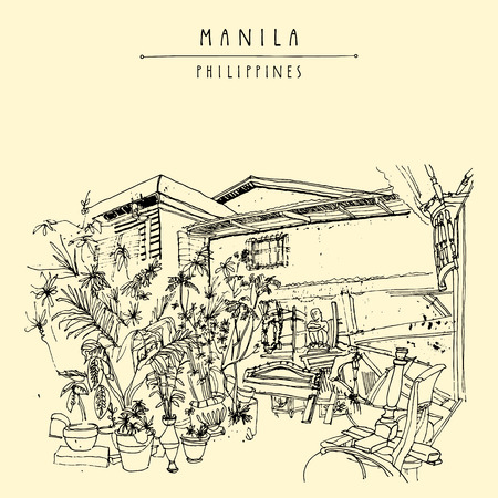 urban decay: An aged guesthouse with a vintage art shop in the old part of Manila, Philippines, Asia. Hand drawn vintage postcard or poster template in vector Illustration