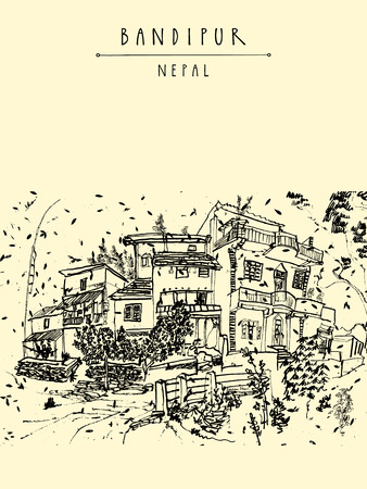 himalaya: Bandipur, Nepal, Asia. Beautiful small town in the Himalayan mountains. Vintage hand drawn postcard or poster template, book illustration in vector