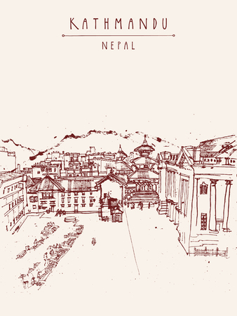 darbar: Kathmandu, Nepal, Asia. Hand drawn postcard. Basantapur Durbar square, house of Kumari, Old Royal Hanuman Dhoka and a market before earthquake. Travel sketch on Nepalese paper. Hand drawing