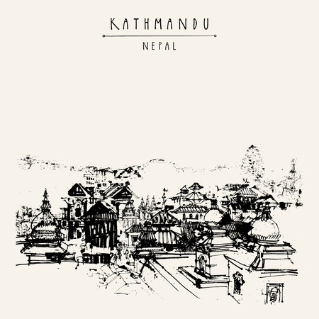Pashupatinath Hindu temple, Kathmandu, Nepal. Travel sketch on Nepalese paper. Artistic hand drawing of a sacred place. Above city view. Hand drawn touristic postcard, poster. Vector book illustration