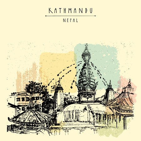third eye: Swayambhu temple in Kathmandu, Nepal, before earthquake. Travel sketch on textured Nepalese paper. Artistic hand drawing. Vintage touristic postcard in vector Illustration