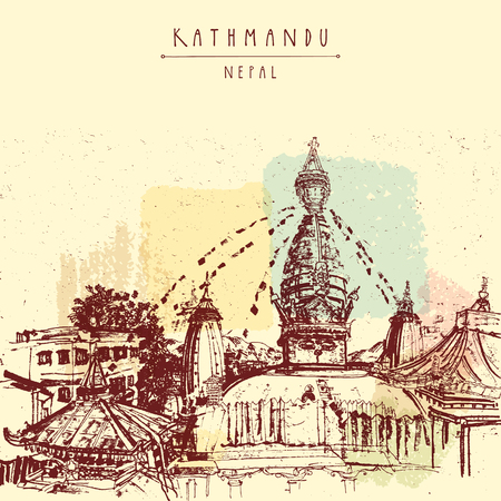 Swayambhu temple in Kathmandu, Nepal, before earthquake. Travel sketch on textured Nepalese paper. Artistic hand drawing. Vintage touristic postcard in vector Illustration