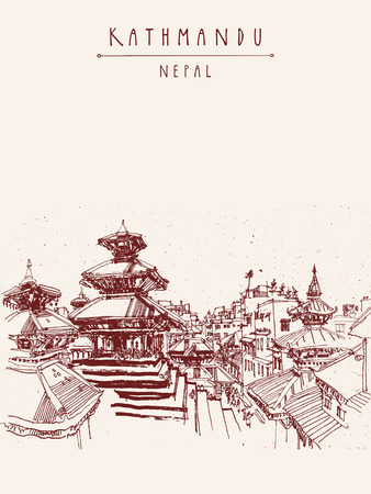 himalaya: Hand drawn postcard with Durbar square and Maju Deval temple in Basantapur, Kathmandu, Nepal, before earthquake. Travel sketch. Hand drawing made with markers