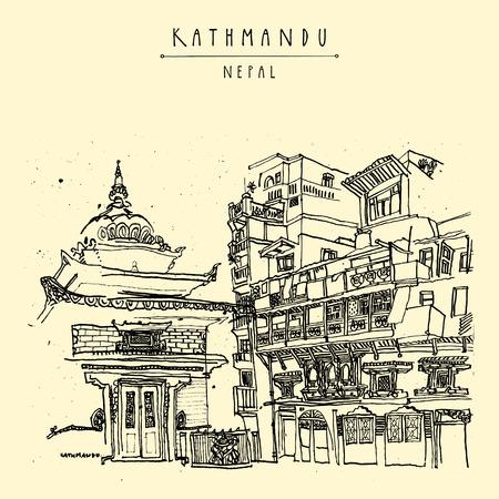 shrine: Kathmandu, Nepal, Asia. Hindu shrine and old historic wooden residential house. Travel sketch. Hand drawn vintage postcard, poster template or book illustration in vector Illustration