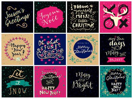 joyeux: Set of hipster hand drawn Merry Christmas and Happy New Year greeting cards in vector. May Your Days Be Merry and Bright, Seasons Greetings, Xoxo, Oh What Fun, Joyeux Noel, Let It Snow