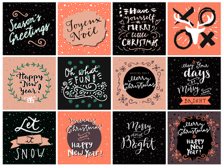 let it snow: Set of hipster hand drawn Merry Christmas and Happy New Year greeting cards in vector. May Your Days Be Merry and Bright, Seasons Greetings, Xoxo, Oh What Fun, Joyeux Noel, Let It Snow