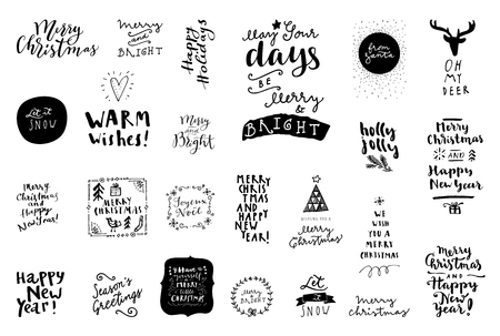 Black and white set of Merry Christmas and Happy New Year vintage hand drawn, badges , quotes and phrases. For gift tags, postcards, posters. Modern calligraphic artwork in vector