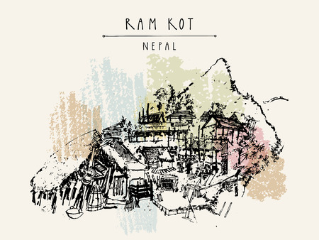 thatched: Ram Kot village in Nepal. Traditional Nepalese houses in the Himalayan mountains. Trekking destination. Vintage touristic postcard in vector