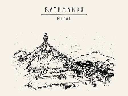 Boudhnath, Tibetan temple in Kathmandu, Nepal, Asia. Travel sketch. Vintage hand drawn touristic postcard, poster, book illustration in vector